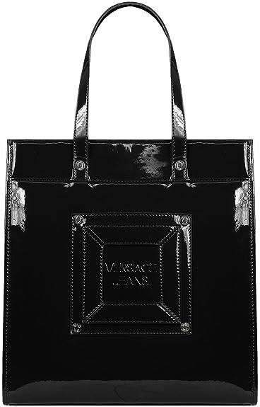 d88d37b01f Versace Jeans Faux Patent Leather Tote Bag (Black (899)): Amazon.co ...