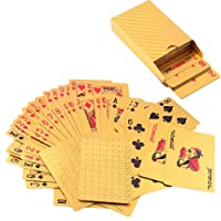 LLF 24K Gold-Foil Plated Playing Cards Poker Table Games With One Elegant Wooden Gift Box