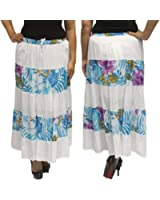 BombayFashions Women's Ankle Length Floral Print Bohemian Gypsy India Skirt