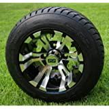 10' VAMPIRE Golf Cart Wheels and 205/50-10 DOT Low Profile Golf Cart Tires Combo - Set of 4