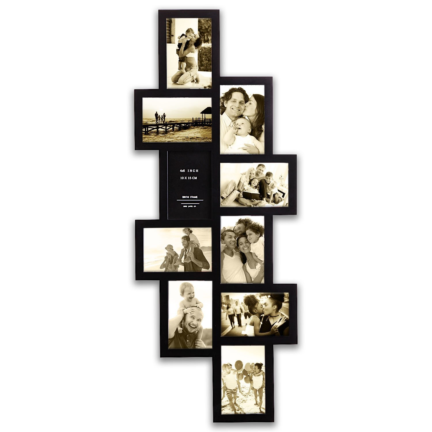 Hello Laura - 33 by 13.5'' inch Wall Hanging Photo Frame, 4 x 6'' inch Photo Sockets x 10, 10 opening Black Frame Edge | Gallery Style by Hello Laura (Image #2)