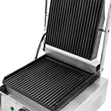 """Chef's Supreme - Commercial Panini Grill w/ 9"""" x 9"""" Grooved Plates, Each"""