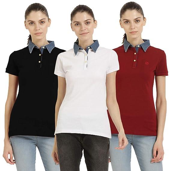 cbbdc261d CHKOKKO Women s Plain Poly Cotton Half Sleeve Polo T Shirt (Red ...