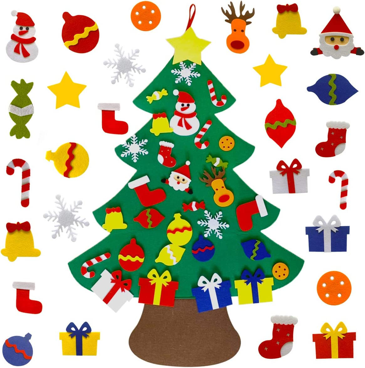 Shelly DIY Felt Christmas Tree with 30pcs Ornaments, Xmas Gifts for Kids New Year Handmade Christmas Door Wall Hanging Decorations
