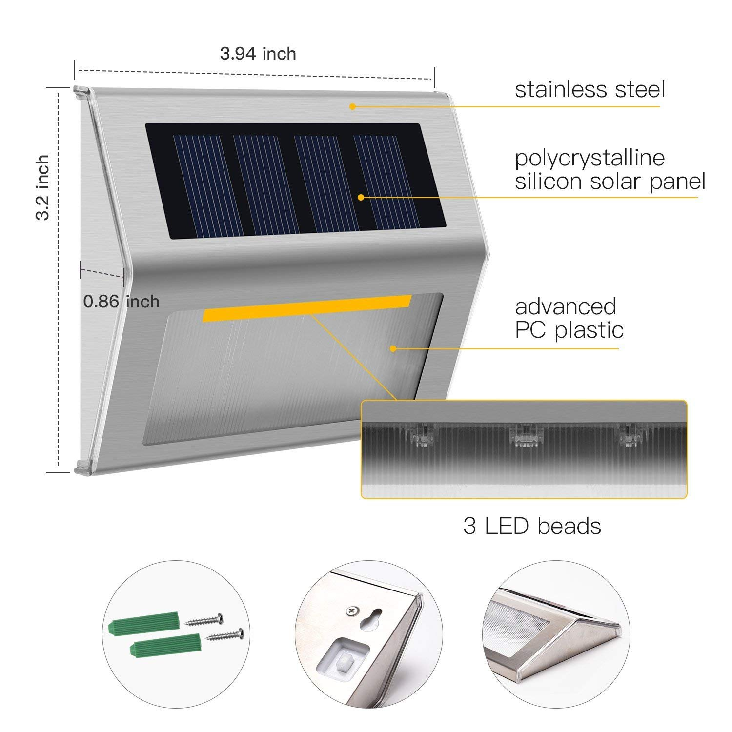 Solar Step Lights, Meio 8 Pack LED Solar Powered Super Bright Weatherproof Outdoor Lighting for Steps Stairs Paths Patio Decks