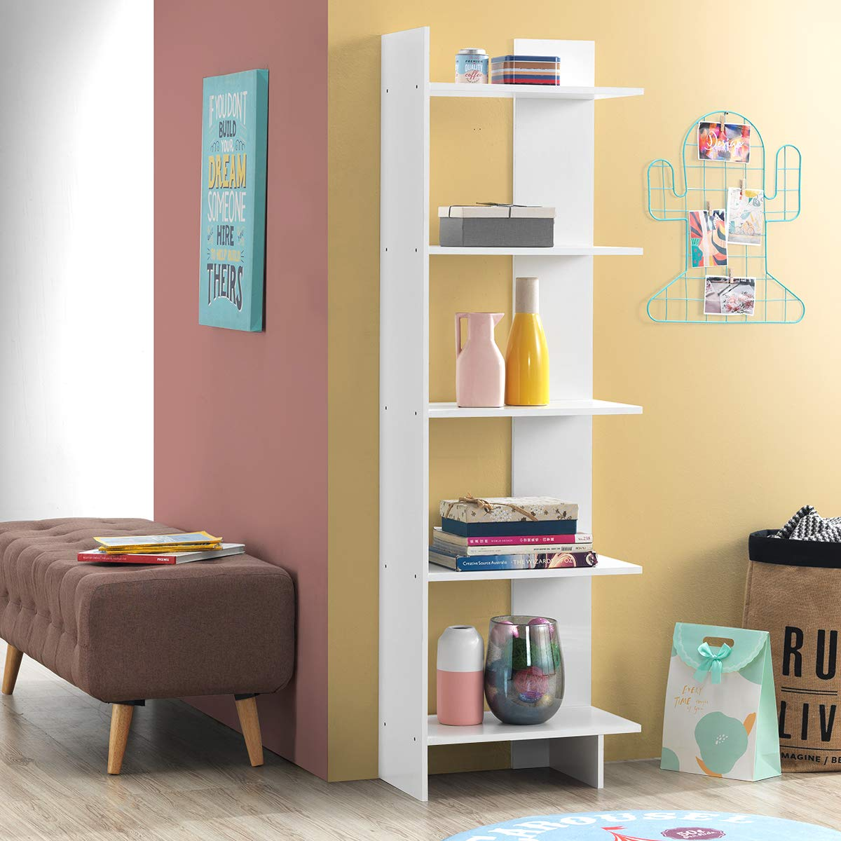 Tangkula 5-Shelf Bookcase, Room Divider and Display Shelf, Freestanding Decorative Storage Shelving, Wooden Bookshelf for Home Living Room Office Bedroom, Room Divider Bookshelf White, 1