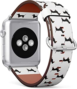Compatible with Apple Watch Series 5, 4, 3, 2, 1 (Big Version 42/44 mm) Leather Wristband Bracelet Replacement Accessory Band + Adapters - Collection Dachshund