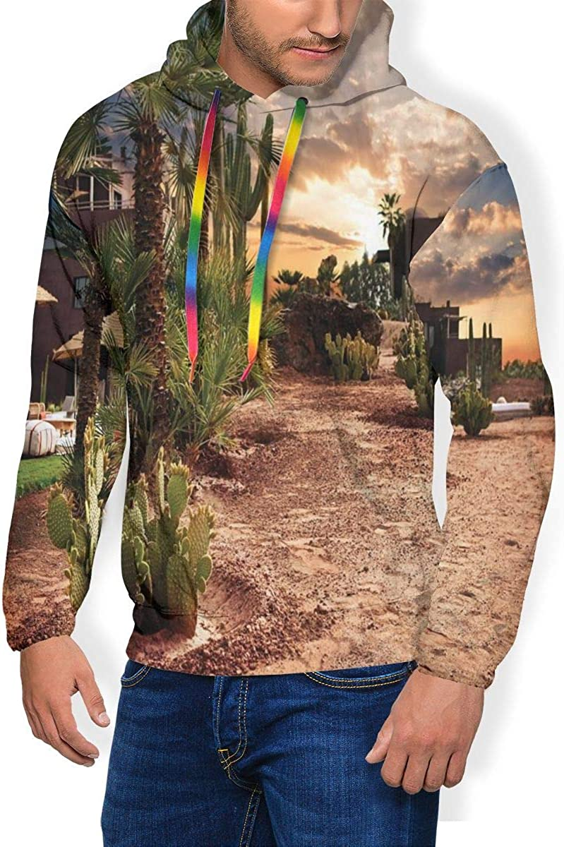Men's Hoodie Thicken Fluff Sweatshirt,Majestic Sky View Palm Trees and Cactus in Oasis Morocco Tropic Nature L
