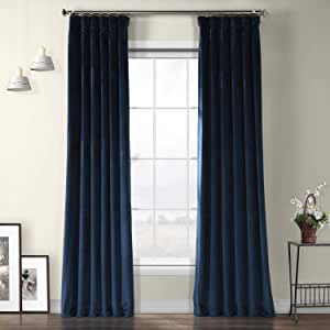 Hpd Half Price Drapes Vpyc 179910 96 Heritage Plush Velvet Curtain 1 Panel 50 X 96 Eternal Blue Home Kitchen Amazon Com