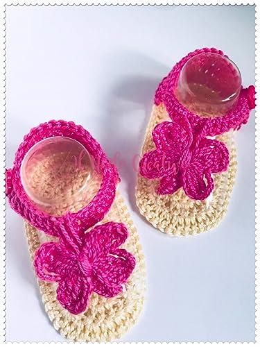 ampia selezione vendita calda super popolare Infradito neonata uncinetto   scarpe bimba con farfalla ...