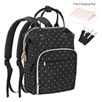 Diaper Bag Backpack, Large Multi-Functional Travel Nappy Bag Baby Bags for Mom, Dad, Men, Women with Stroller Straps and Changing Pad(Black Dot)
