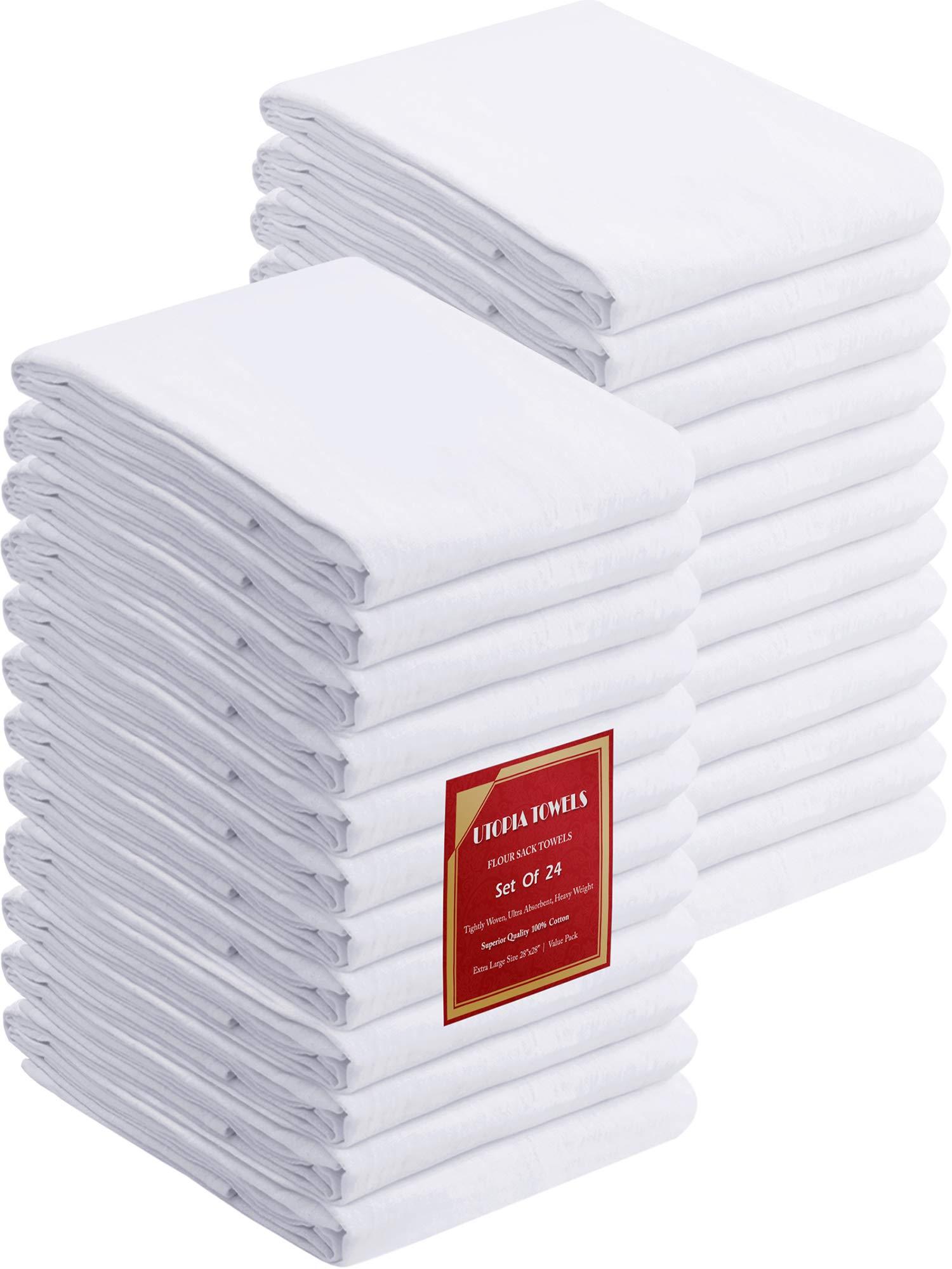 Utopia Kitchen Flour Sack Dish Towels, 24 Pack Cotton Kitchen Towels