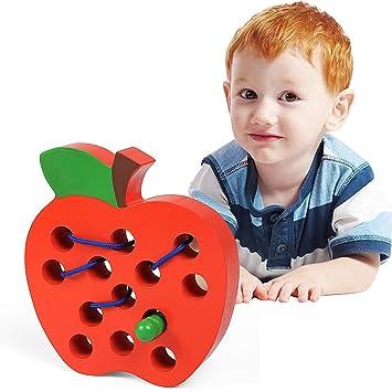 LEADSTAR Montessori 1 2 3 Años, Cordón de Madera Enhebrar Juguete de Manzana, Bloque de Madera Puzzle Desarrollo de Habilidades Motoras Juego Regalo Educativo Montessori para Niñas Niños Bebe (Rojo): Amazon.es: Juguetes