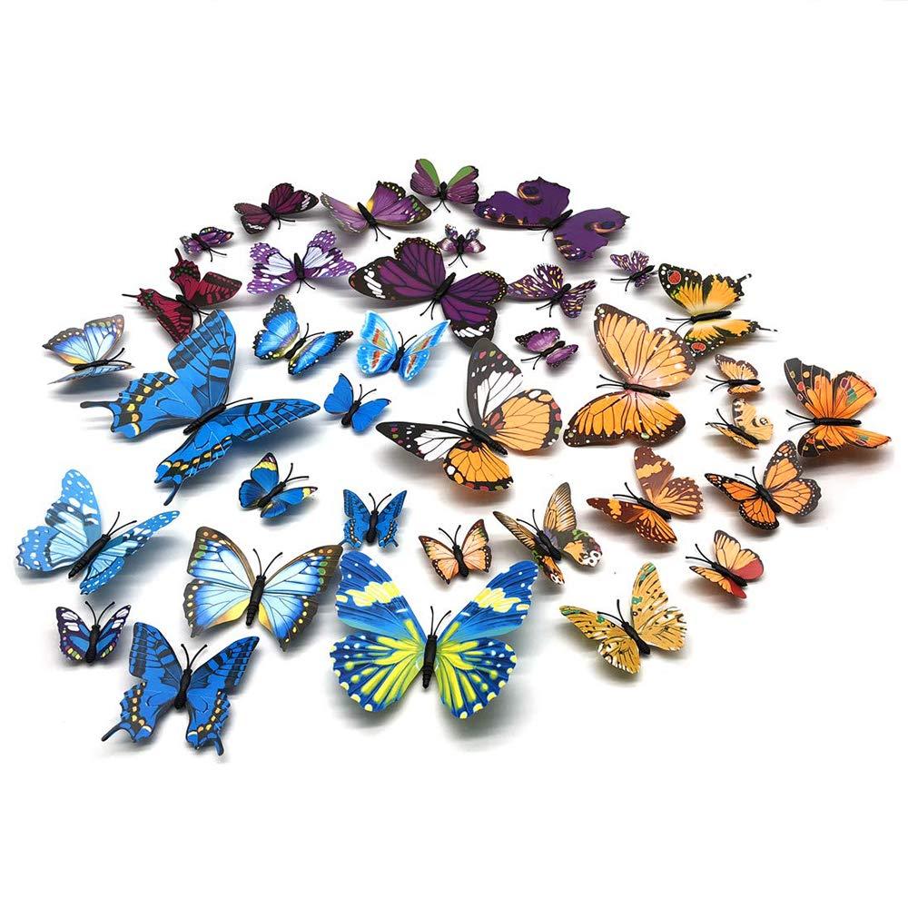 FUJIE 36 Piezas Adhesivos 3D Dise/ño de Mariposas Etiquetas Engomadas 3D Mariposa Pegatinas de Pared Decorativos para Pared