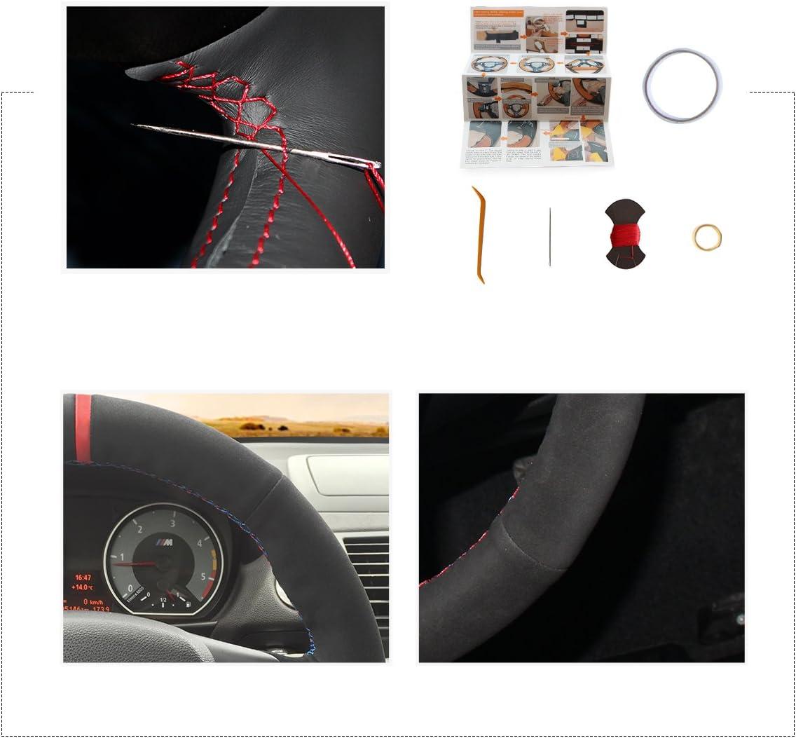 MEWANT Housse de volant personnalis/ée en cuir synth/étique en microfibre en cuir housse de volant housse de volant DIY couture /à la main pour Sport M3 E90 E91 E92 E93 E87 E81 E82 E88 X1 E84