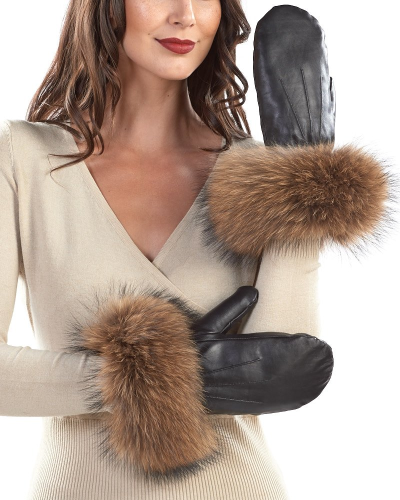 Black Authentic Leather Mittens with Tan Finn Raccoon Cuffs - Small/Medium