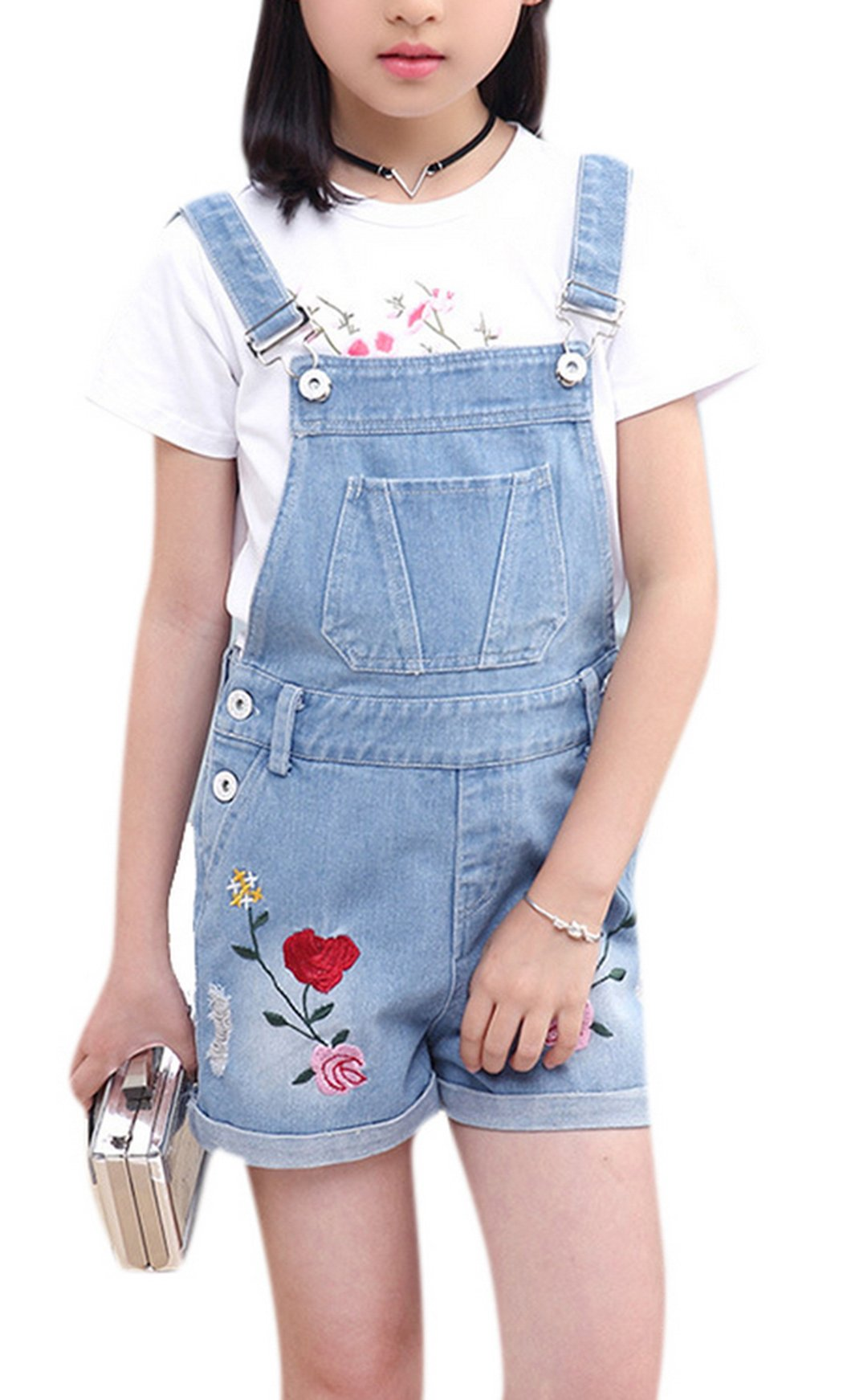Girl's Elegant Embroidery Denim Overall Jeans Shortall Big Kids Cowboy Suspender 110 Light Blue