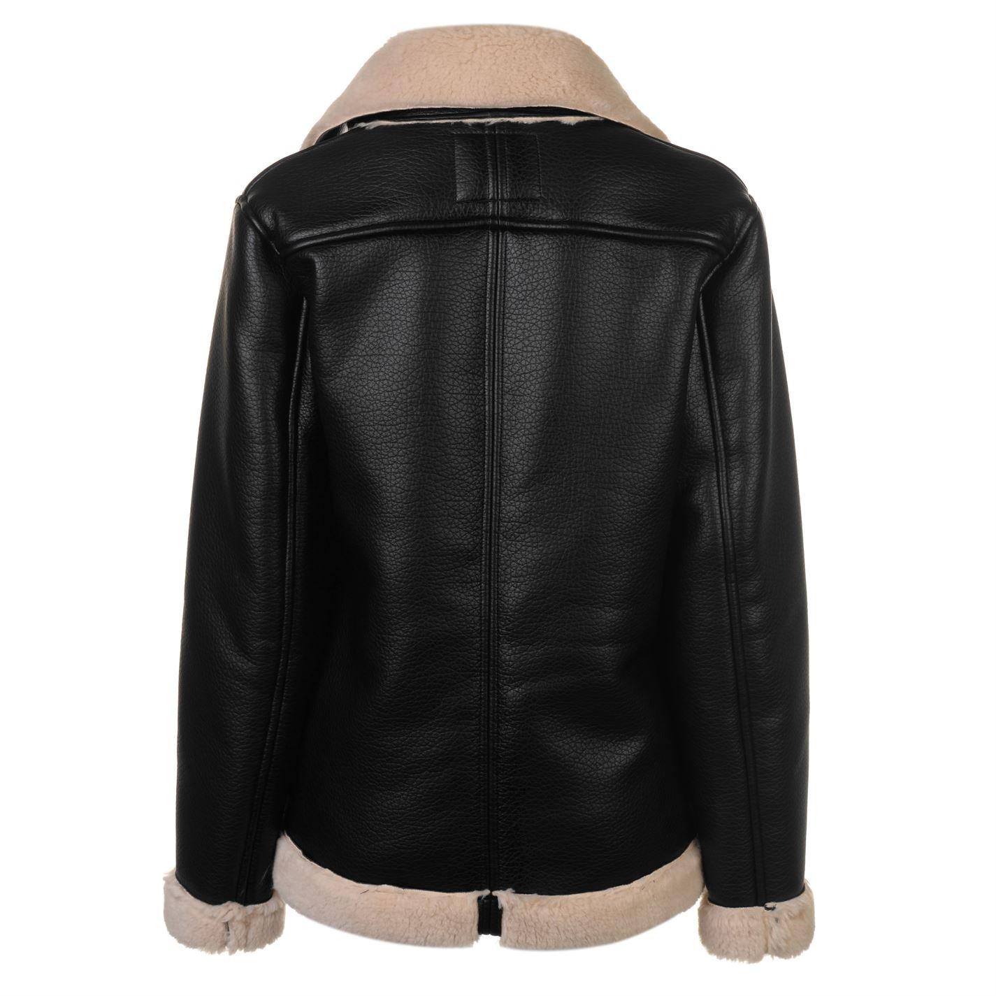 Firetrap Womens Blackseal Jacket Leather PU Coat Top Zip Full Black 14 (L)   Amazon.co.uk  Clothing 5ecac1520