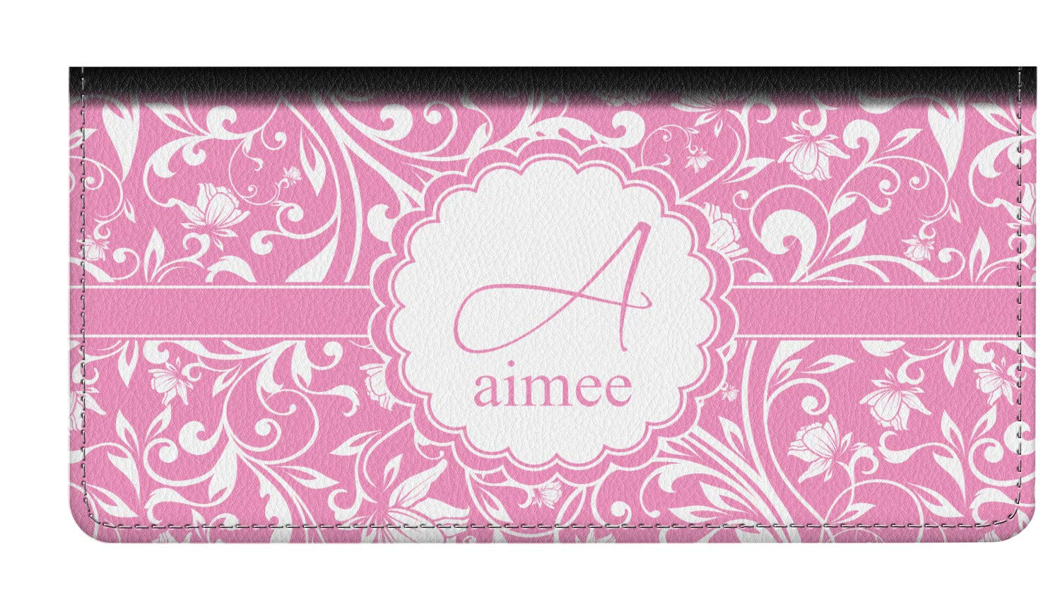 Floral Vine Genuine Leather Checkbook Cover (Personalized) by YouCustomizeIt