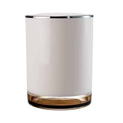 immanuel float designer brown bathroom trash can scratch resistant acrylic wastebasket garbage bin with swivel - Bathroom Trash Can With Lid