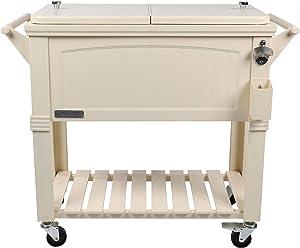 Permasteel PS-203F1-CREAM-AM 80 Quart Portable Rolling Patio Cooler, White