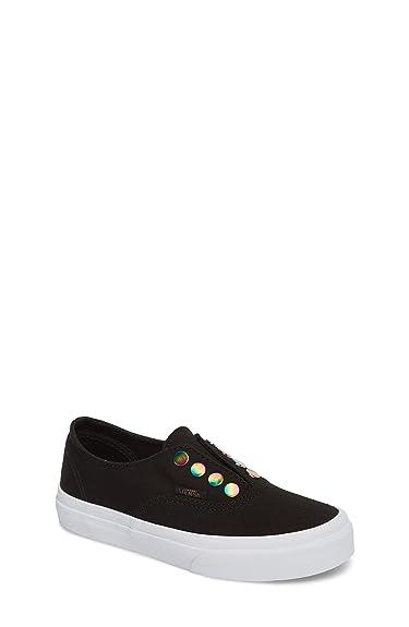 c242c719712a38 Vans Girl s Authentic Gore (Rainbow Eyelets) Black Skateboarding Shoes (1 M  US Little
