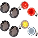 NTHREEAUTO 1157 Front Rear LED Turn Signals, 2Inch Bullet Rear Brake Light with Smoked Lens Cover Compatible with Harley…