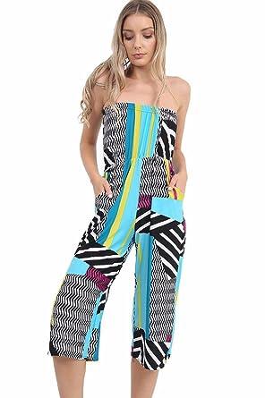 9af12ef61c JAVOX Fashion s Womens Printed Bardot jumpsuit playsuit (XL ( UK 16-18)