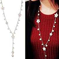 Shining Diva Fashion Jewellery Pearls n Florals Pendent Long Chain Pendant Stylish Necklace for Women & Girls