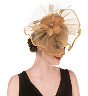 2dc43a27da06d Fascinator Hat Feather Mesh Net Veil Party Hat Ascot Hats Flower Derby Hat  with Clip and…
