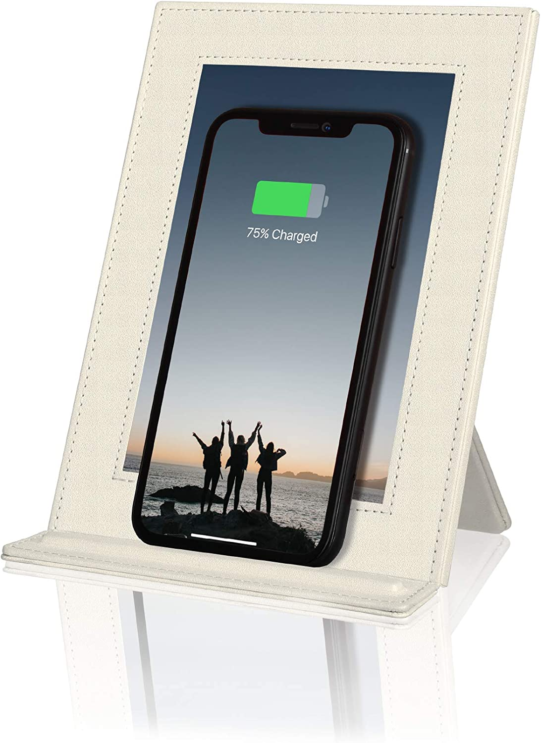 PROXA Wireless Charger Photo Frame, Qi Enabled Fast Charger Up to 7.5W for iPhone 11/11 Pro/11Pro Max/XS/XS Max/XR, 10W for Galaxy Note 10+/10/9/8/S10+/S10e/S10-Ivory White - No AC Adapter