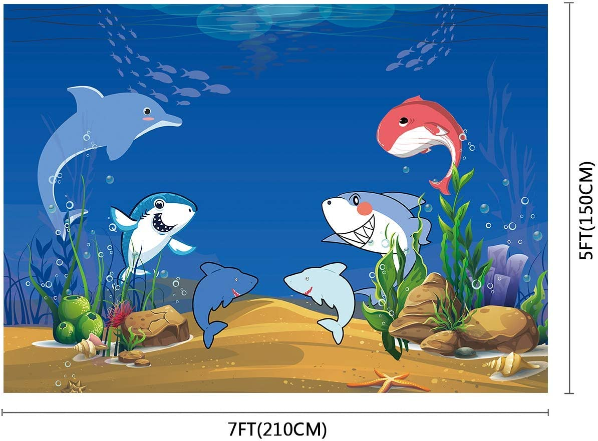 10x8ft Background Seabed Cartoon Shark Backdrop Photography Booth Props for Kids Children Birthday Photo WQFU014