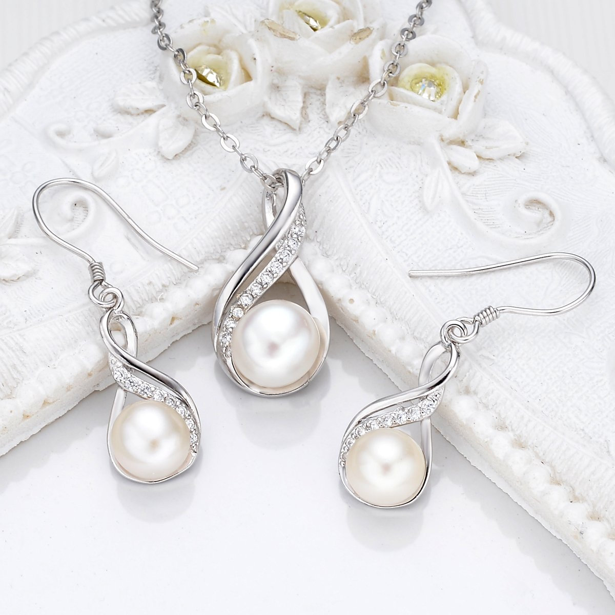 EleQueen 925 Sterling Silver CZ Cream Freshwater Cultured Pearl Infinity Bridal Necklace Hook Earrings Set Clear by EleQueen (Image #4)