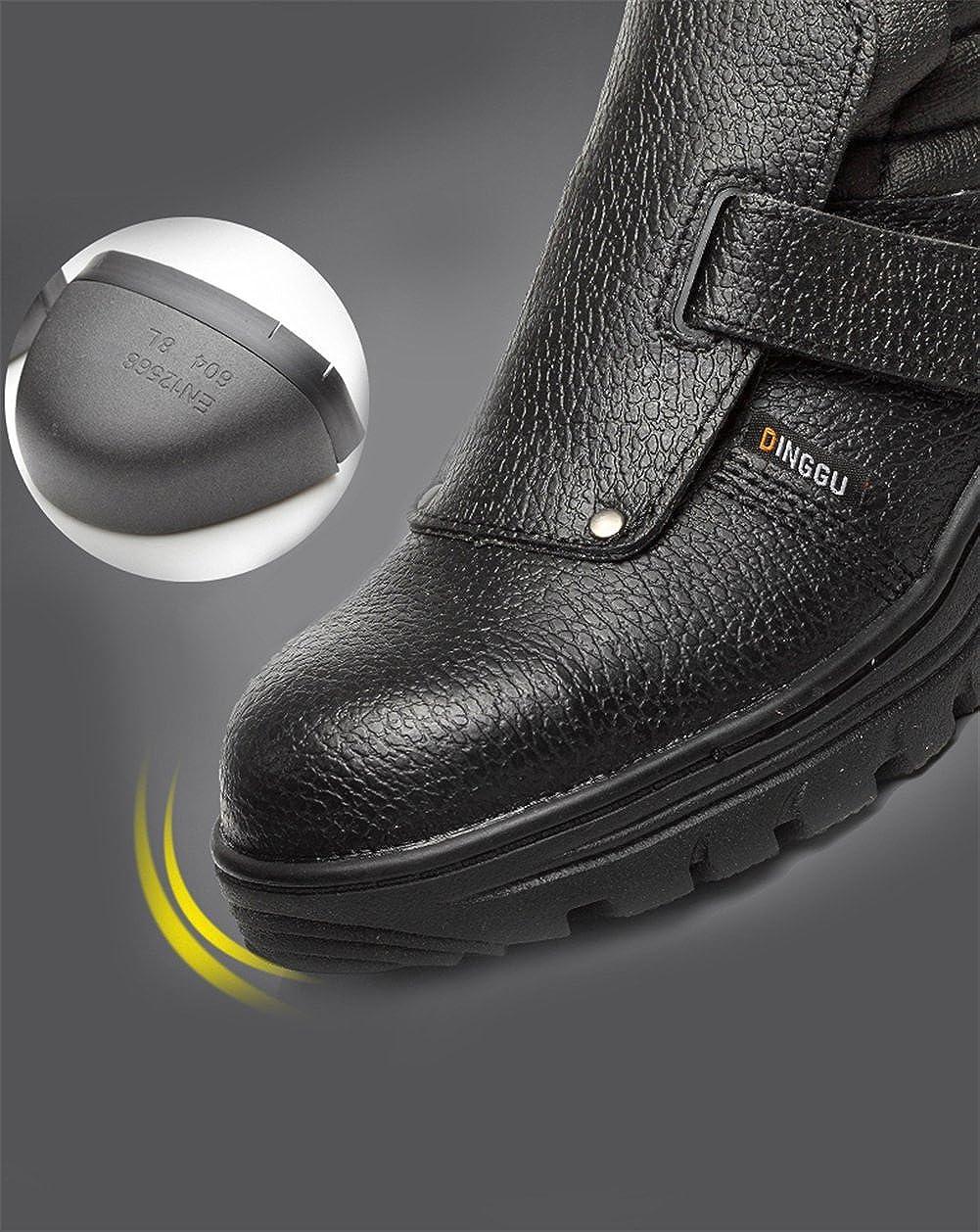 AILU Arbeitsschuhe S3 Herren Wasserdicht Stahlkappe Schwei/ßschuhe Lsolierung Klettverschluss Sicherheitsschuhe Ohne Schn/ürsenkel