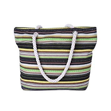 bc891ef4fe5 Flada Canvas Travel Tote Bag Holiday Beach Bag Rainbow Stripes Shoulder Bag  Shopping Bag for Ladies and Girls: Amazon.co.uk: Luggage