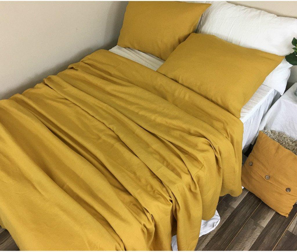 Mustard Linen Duvet Cover, Gold duvet cover, natural linen bedding