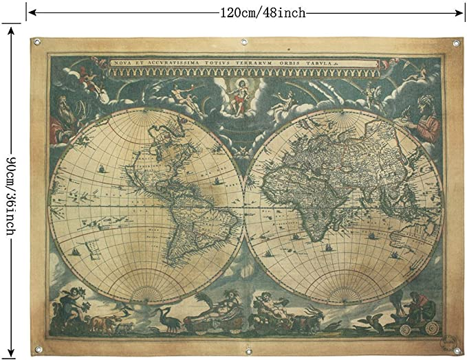 Enfen Vintage Old World Map Canvas Wall Tapestry With 6 Hooks Wall Hanging Decor 48x36 Inches Home Kitchen Amazon Com