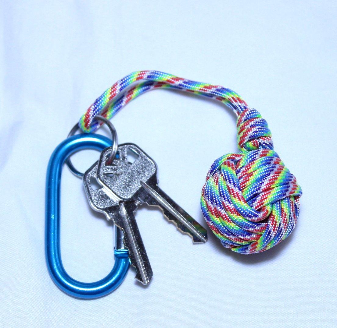 Rainbow paracord MONKEY FIST KEYRING //keyring chain fob.