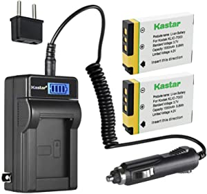 Kastar 2-Pack GB-40 Battery and LCD AC Charger Compatible with GE GB-40 GB40 Battery, GE A830, E1030, E1035, E1040, E1050, E1050TW, E1055, E1235, E1240, E1250TW, E850, E850SL, H855 Digital Camera
