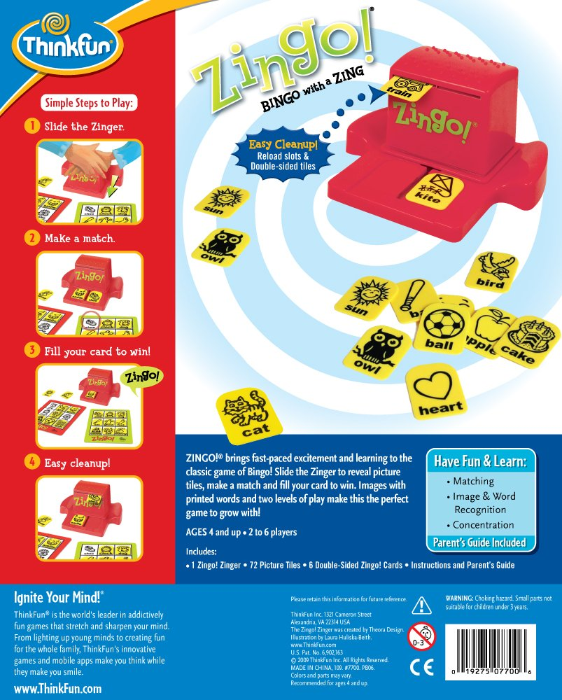 ThinkFun Zingo Bingo Award Winning Game for Pre-Readers and Early Readers Age 4 and Up by Think Fun (Image #2)