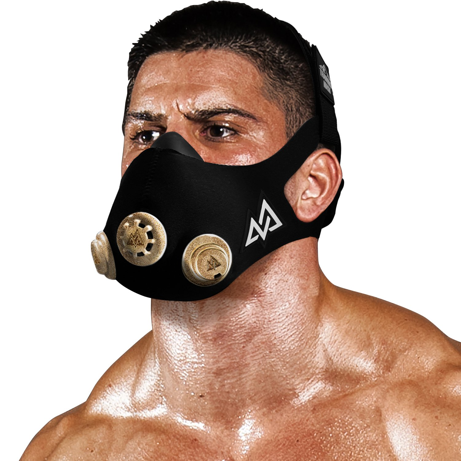 Training Mask - Workout Mask Chrome Series 2.0 for Cardio Endurance and Fitness Breathing Resistance Mask, Running Mask (Gold, Small)
