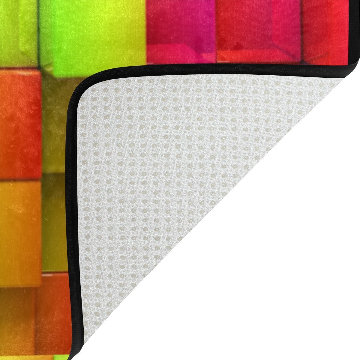 Kids Soft Area Rugs Non-Slip Floor Mat Resting Area Doormats YZGO Colorful Rainbow Boxes