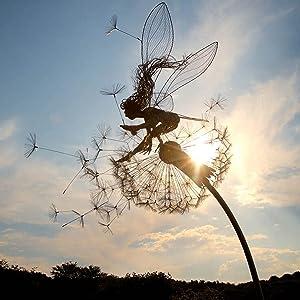 Fairies and Dandelions Dance Together, in Dark Metal Yard Art, Robin Wight Wire Fairy Dandelion Sculpture,Fairy Sculptures Dancing with Dandelions,Wind Catcher Yard Garden Stakes Decor (A)