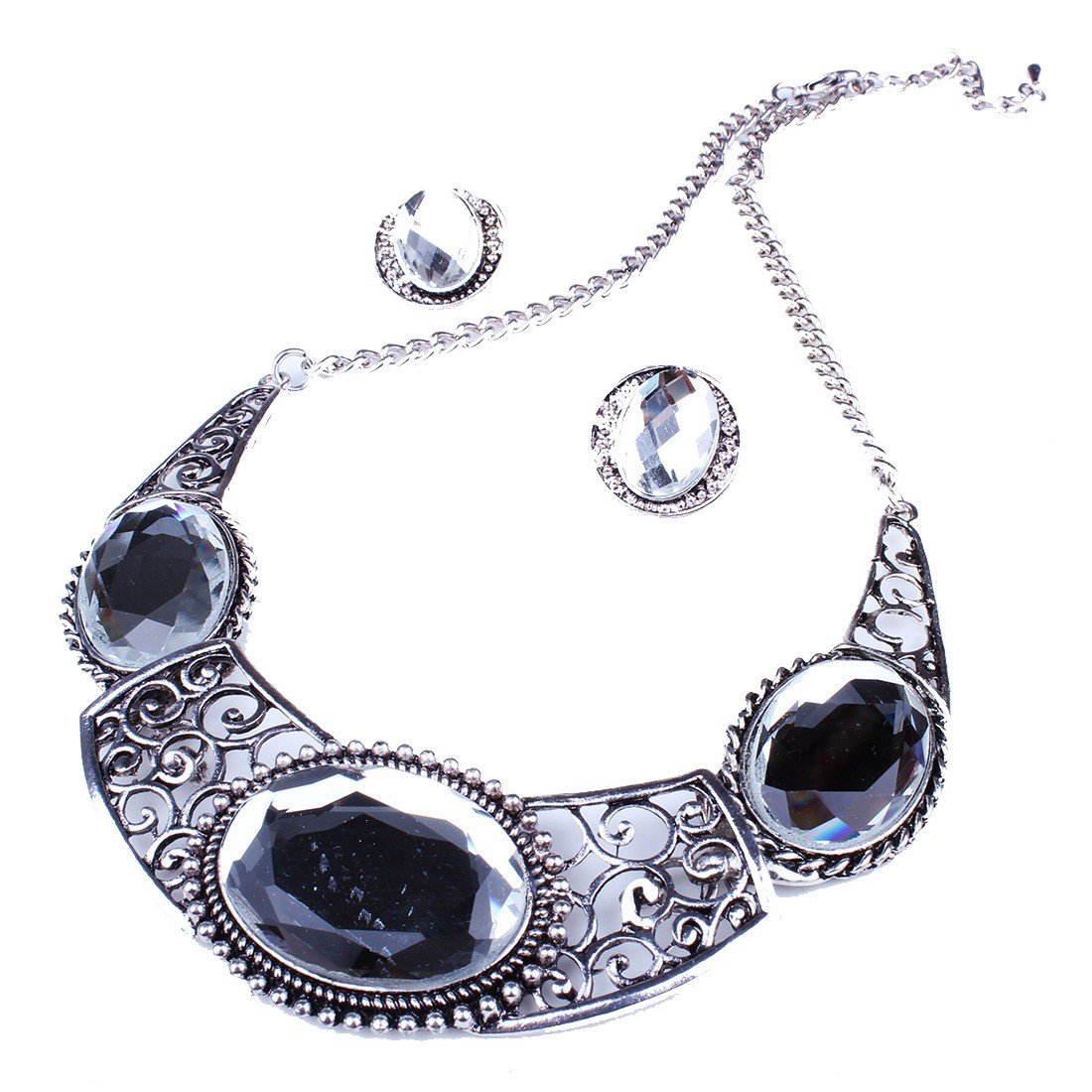 Qiyun Silver Alloy Vintage Clear Rhinestone Pendant Bib Choker Necklace Alliage D'Argent Mille sime Clair Collier W005N2332