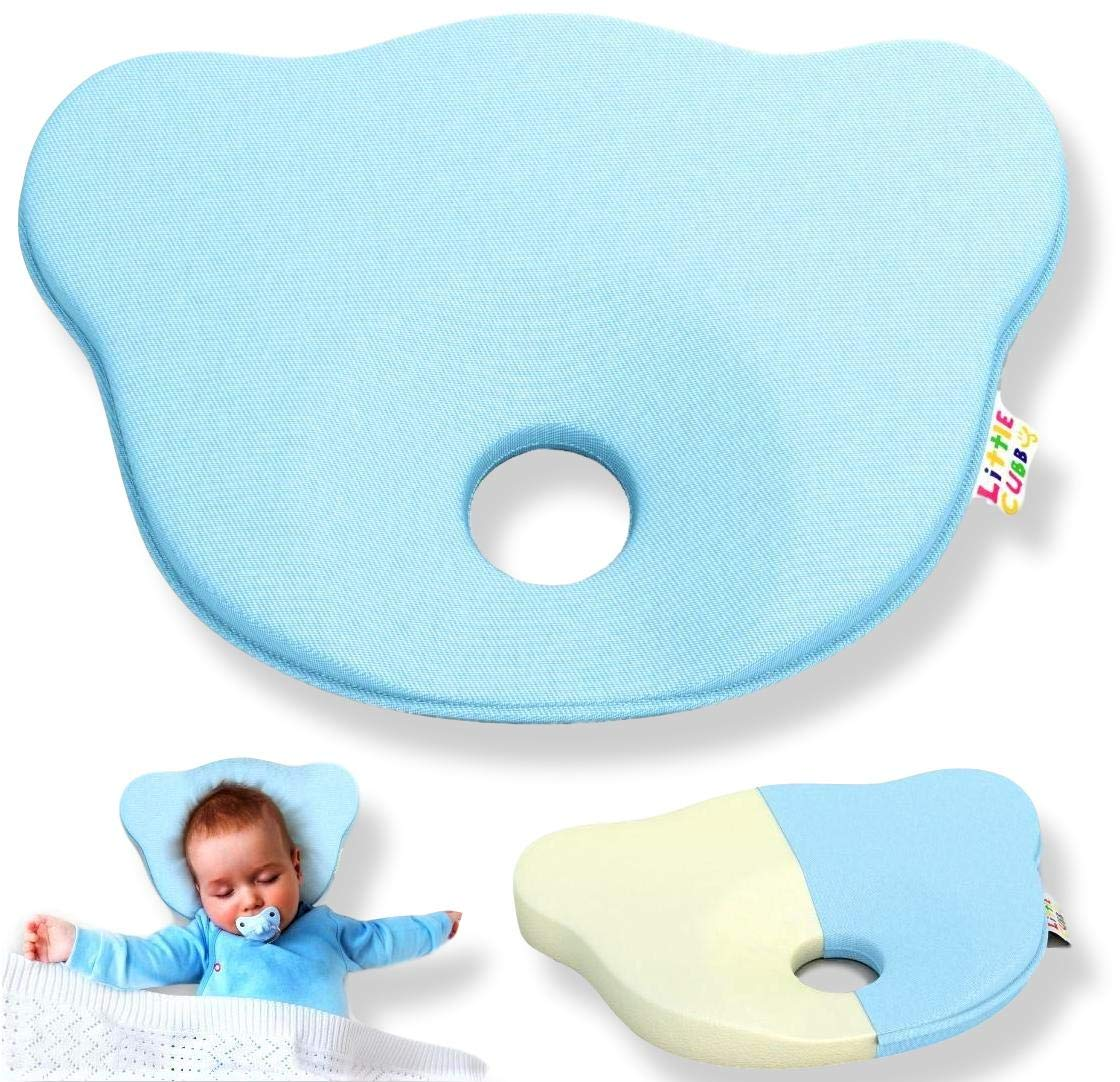Baby Head Shaping Pillow Prevent Flat Head Syndrome made from Breathable Organic Cotton for Infants and Newborns 0-12 months Little Cubby