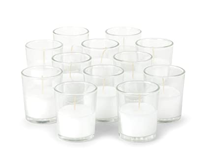 2a64b83603 KISCO CANDLES: 10 Hour Votive Candles with Holders Clear Decorative Glass  Home Decor, Beautiful
