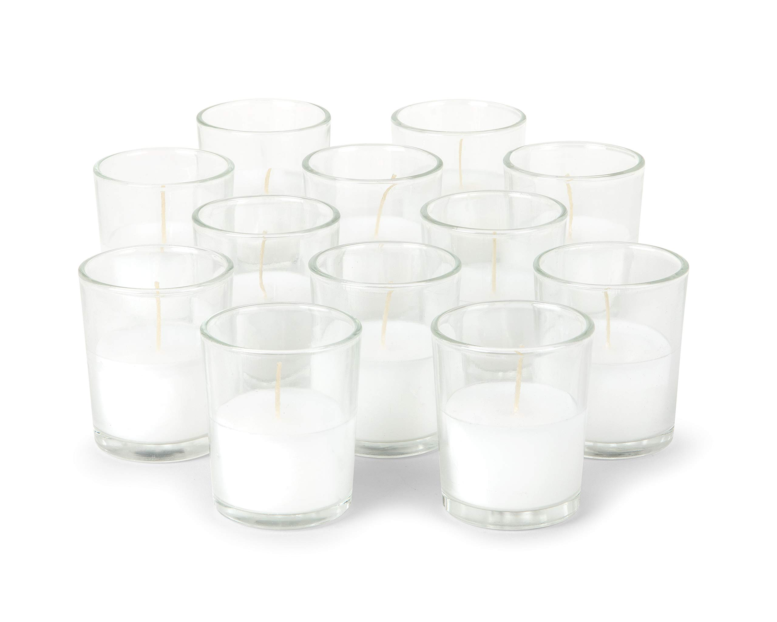 KISCO CANDLES: 12 Hour Votive Candles with Holders Clear Decorative Glass Home Decor, Beautiful Living Room, Kitchen, Bathroom Lighting | Long-Lasting Wax | 12-Pack