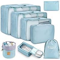 Packing Cubes for Travel, 8Pcs Travel Cubes Set Foldable Suitcase Organizer Lightweight Luggage Storage Bag (Blue)