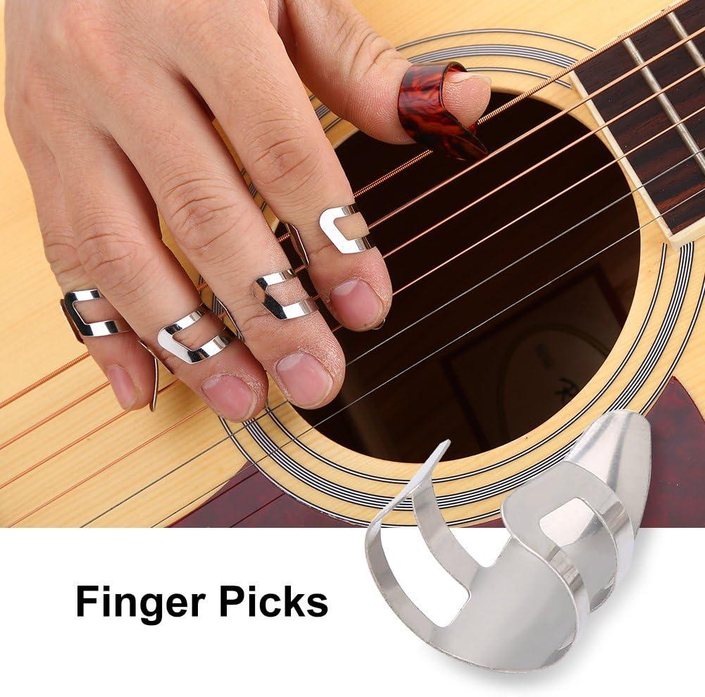 Alomejor Guitar Finger Pick Thumb Picks Set Thumb and Finger Picks Guitar Picks with Grid Case Caja de Almacenamiento para Tocar la Guitarra