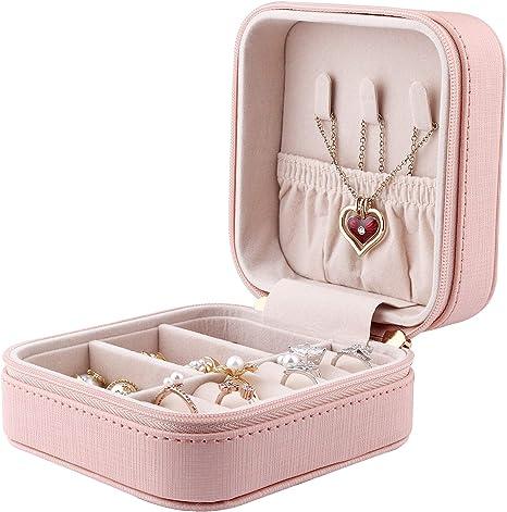 Gifort Caja Joyero Peque/ña Jewelry Organizer de Viaje para Mujer Ni/ña Regalo Caja Joyas Organizador Cuero PU para Anillos Pendientes Collares Pulseras